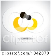 Clipart Of An Abstract Yellow And Black Couple Embracing Over Shading Royalty Free Vector Illustration