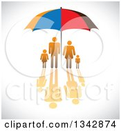 Clipart Of A Gradient Orange Family With A Reflection Sheltered Under An Umbrella Over Shading Royalty Free Vector Illustration