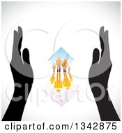 Clipart Of A Pair Of Black Hands Framing A Gradient Orange Family And Home With A Reflection Over Shading Royalty Free Vector Illustration by ColorMagic