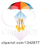 Clipart Of A Family And House Sheltered Under An Umbrella Royalty Free Vector Illustration by ColorMagic