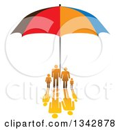 Clipart Of A Gradient Orange Family With A Reflection Sheltered Under An Umbrella Royalty Free Vector Illustration