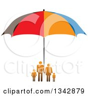 Clipart Of A Gradient Orange Family Sheltered Under An Umbrella Royalty Free Vector Illustration