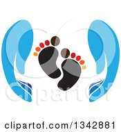 Clipart Of Blue Parent Hands Around Baby Foot Prints Royalty Free Vector Illustration