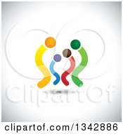 Clipart Of A Colorful Abstract Family Over Shading 3 Royalty Free Vector Illustration