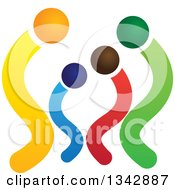 Clipart Of A Colorful Abstract Family 3 Royalty Free Vector Illustration