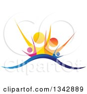 Clipart Of A Colorful Happy Family Cheering Over A Wave Royalty Free Vector Illustration