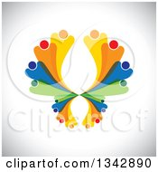 Clipart Of A Colorful Abstract Family Or Team Forming A Butterfly Over Shading Royalty Free Vector Illustration by ColorMagic