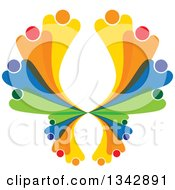 Clipart Of A Colorful Abstract Family Or Team Forming A Butterfly Royalty Free Vector Illustration