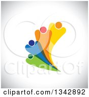 Clipart Of A Colorful Abstract Family Or Team Fanning Over Shading Royalty Free Vector Illustration