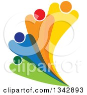 Clipart Of A Colorful Abstract Family Or Team Fanning Royalty Free Vector Illustration