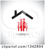 Clipart Of A Red Family Under A House Roof Over Shading Royalty Free Vector Illustration by ColorMagic