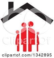 Clipart Of A Red Family Under A House Roof Royalty Free Vector Illustration by ColorMagic