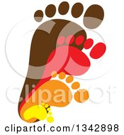 Clipart Of Layers Of Parent And Children Foot Prints Royalty Free Vector Illustration