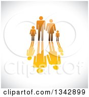 Clipart Of A Gradient Orange Family Of Four And Reflection Over Shading Royalty Free Vector Illustration