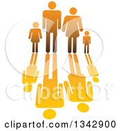 Clipart Of A Gradient Orange Family Of Four And Reflection Royalty Free Vector Illustration