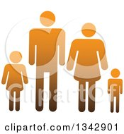 Clipart Of A Gradient Orange Family Of Four Royalty Free Vector Illustration
