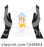 Clipart Of A Pair Of Black Hands Framing A Gradient Orange Family And Home With A Reflection Royalty Free Vector Illustration