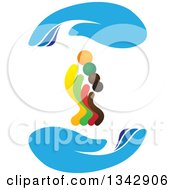 Clipart Of A Colorful Family Between Blue Protective Hands Royalty Free Vector Illustration
