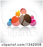 Clipart Of A Family Made Of Colorful Circles Over Shading Royalty Free Vector Illustration