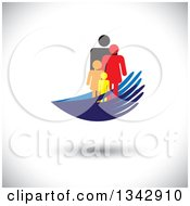 Clipart Of A Colorful Family Of Four In Blue Hands Over Shading Royalty Free Vector Illustration