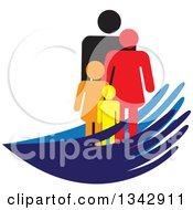Clipart Of A Colorful Family Of Four In Blue Hands Royalty Free Vector Illustration