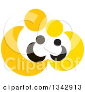 Clipart Of Yellow Abstract Parents Sheltering Their Children Royalty Free Vector Illustration