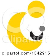 Clipart Of A Yellow Abstract Parent Holding A Baby Royalty Free Vector Illustration