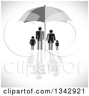 Clipart Of A Black Family Sheltered Under A Gray Umbrella Over Shading Royalty Free Vector Illustration
