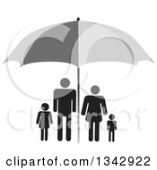 Clipart Of A Black Family Sheltered Under A Gray Umbrella Royalty Free Vector Illustration