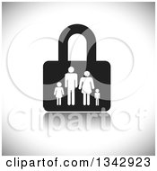 Clipart Of A Black And White Padlock With A Family Over Shading Royalty Free Vector Illustration