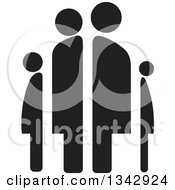 Clipart Of A Black Abstract Family Of Four Royalty Free Vector Illustration