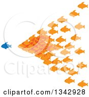 Clipart Of A Group Of Orange Fish Following A Blue Fish Royalty Free Vector Illustration