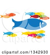 Clipart Of A Group Of Colorful Schooling Fish With One Large Leader Royalty Free Vector Illustration