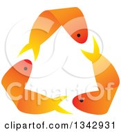 Clipart Of Recycle Arrows Formed By Three Orange Gold Fish Royalty Free Vector Illustration