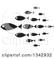 Clipart Of A Group Of Black And White Schooling Fish Royalty Free Vector Illustration