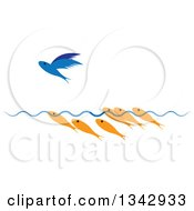 Clipart Of Gold Fish Watching A Flying Blue Fish Royalty Free Vector Illustration