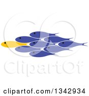 Clipart Of A Yellow Fish Leading A Group Of Blue Fish Royalty Free Vector Illustration