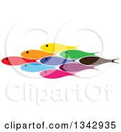 Clipart Of A Group Of Colorful Schooling Fish 2 Royalty Free Vector Illustration by ColorMagic
