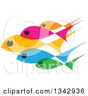 Clipart Of A Group Of Colorful Schooling Fish 2 Royalty Free Vector Illustration