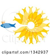 Clipart Of A Crowned Blue Fish Swimming Away From A Circle Of Gold Fish Royalty Free Vector Illustration by ColorMagic