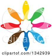Circle Of Colorful Fish With Their Tails In