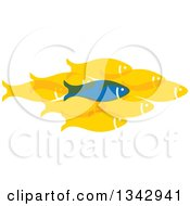 Clipart Of A Blue Fish Standing Out From A Group Of Yellow Fish Royalty Free Vector Illustration