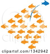 Clipart Of A Group Of Orange Fish With A Blue One Leaping Out In The Opposite Direction Royalty Free Vector Illustration