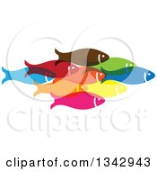 Clipart Of A Group Of Colorful Schooling Fish 3 Royalty Free Vector Illustration
