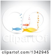 Clipart Of A Group Of Three Colorful Fish And Bubbles Over Shading Royalty Free Vector Illustration by ColorMagic