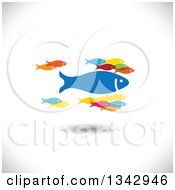 Clipart Of A Group Of Colorful Schooling Fish With One Large Leader Over Shading Royalty Free Vector Illustration