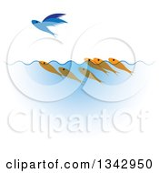 Clipart Of Swimming Gold Fish Watching A Flying Blue Fish Royalty Free Vector Illustration by ColorMagic
