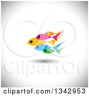 Clipart Of A Group Of Colorful Schooling Fish Over Shading 2 Royalty Free Vector Illustration