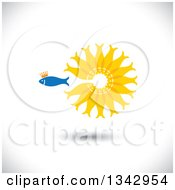 Clipart Of A Crowned Blue Fish Swimming Away From A Circle Of Gold Fish Over Shading Royalty Free Vector Illustration