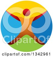Clipart Of A Colorful Circle And Orange Man Jumping Or Cheering Royalty Free Vector Illustration by ColorMagic